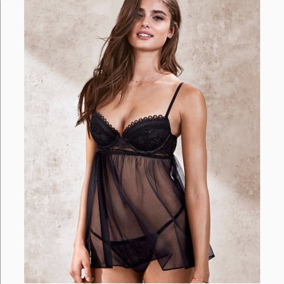 c866e95563aa6 Victoria s Secret Babydoll Lingerie Set in Black